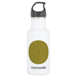 Oliven-und GoldMandala-Kunst Namaste Edelstahlflasche