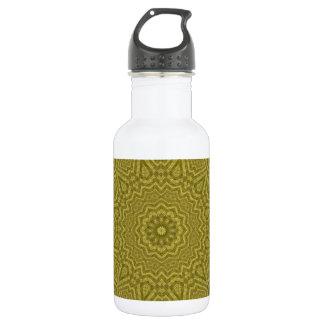 Oliven-und Goldrechteckige Mandala-Kunst Edelstahlflasche