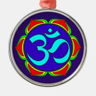 OM-Symbol heilige Buddhismusreligion Rundes Silberfarbenes Ornament