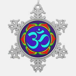 OM-Symbol heilige Buddhismusreligion Schneeflocken Zinn-Ornament