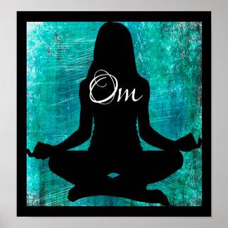 OM-Türkis und schwarze Frauen-meditierender Poster