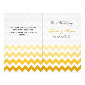 Ombre gelbes Zickzack gefaltetes Wedding Programm Flyer