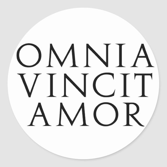 omnia vincit amor runder aufkleber. Black Bedroom Furniture Sets. Home Design Ideas