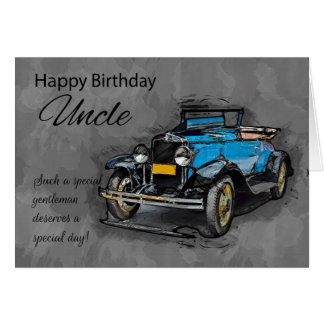 Onkel, Vintages blaues Auto auf Grußkarte