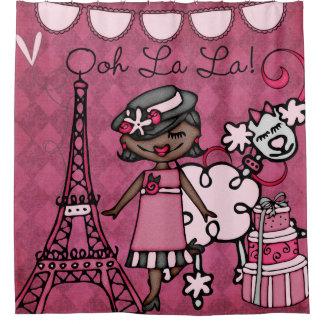 Ooh La-La-Afroamerikaner-Diva-Eiffelturm Duschvorhang
