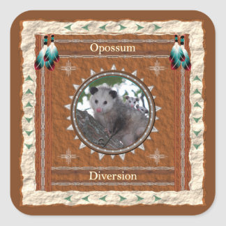Opossum - Ablenkungs-Aufkleber - 20 pro Blatt Quadratischer Aufkleber