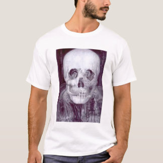 Optischer Ollusion Schädel und Tabelle T-Shirt