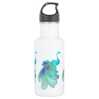 Opulenter Pfau-Vogel-blaue Goldwasser-Flasche Edelstahlflasche