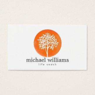 Orange Aquarell-Baum-Leben-Trainer, Ratgeber Visitenkarten