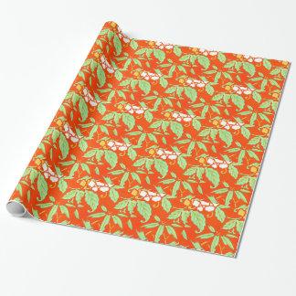 Orange asiatisches botanisches geschenkpapier