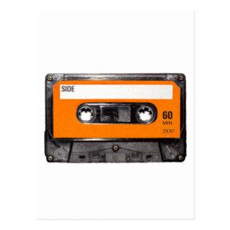 Orange Aufkleberachtziger jahre Kassette Postkarte