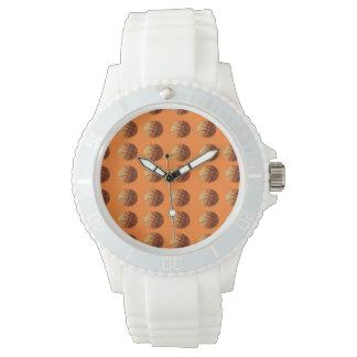 Orange_Basketballs_Pattern, _Ladys_Sporty_Watch. Uhr