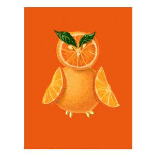 Orange Eule Postkarte