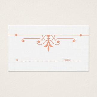 Orange extravagante dekorative Platzkarte v2 Visitenkarte