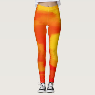 Orange Farben-Spritzer Leggings