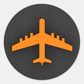 Orange Flugzeug Runder Aufkleber
