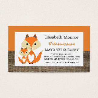 Orange Fox-Leinwand, Tierarzt, Veterinär Visitenkarte