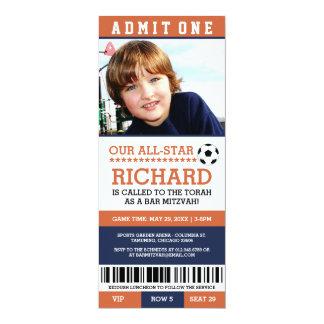 Orange Fußball-Bar Mitzvah lädt ein 10,2 X 23,5 Cm Einladungskarte