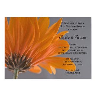 Orange Gänseblümchen-graue 12,7 X 17,8 Cm Einladungskarte