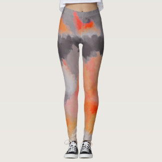 Orange graue abstrakte Malerei Leggings