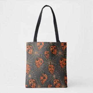 Orange Herbst-Blätter und Spiderwebs Muster