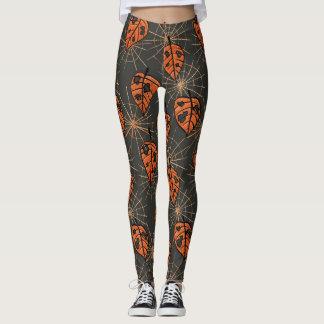 Orange Herbst-Blätter und Spiderwebs Muster Leggings