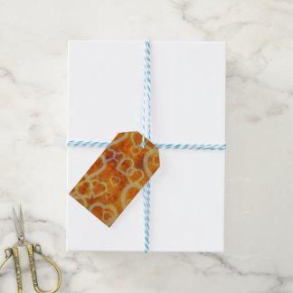 Orange Herz-Schablonen-Beschaffenheit Geschenkanhänger