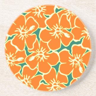 Orange Hibiskus-Blumen tropisches hawaiisches Luau Untersetzer