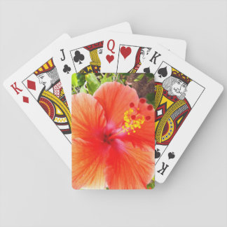 Orange Hibiskus Pokerkarte