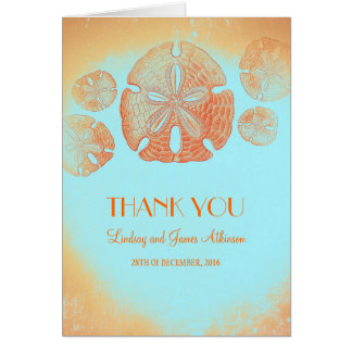 Orange Hochzeit des Sand-Dollars danken Ihnen Karte
