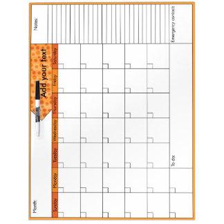 Orange Kalender der Tupfen-6W Whiteboard
