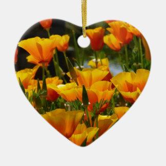Orange Kalifornien Poppies_3.1 Keramik Herz-Ornament