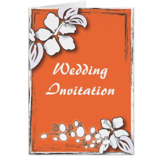 Orange Leidenschafts-Blumen-Hawaii-Strand-Hochzeit Karte
