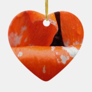 Orange Mohnblumen-Blumenblätter Keramik Herz-Ornament