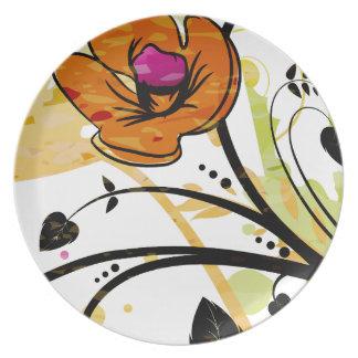 Orange Mohnblumen-Blumenillustration Teller