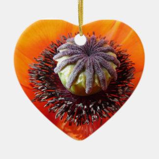 Orange Mohnblumen-Mitte Keramik Herz-Ornament