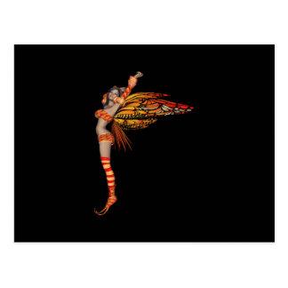 Orange Monarch-Elf-Schmetterlings-Fee 2 - Postkarte