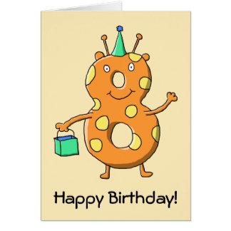 Orange Monster der Nr. 8 für 8. Geburtstag Karte