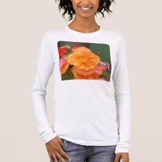 Orange Pfingstrose Langarm T-Shirt