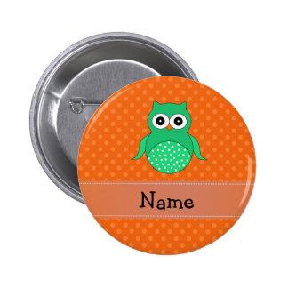 Orange Polkapunkte der personalisierten grünen Runder Button 5,7 Cm