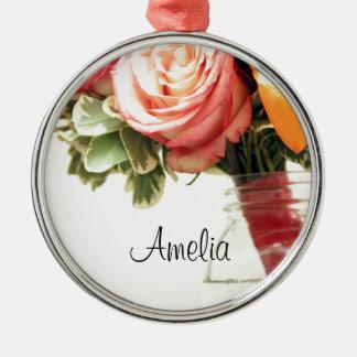 orange Rose des Hochzeits-Blumen-Rosas fertigen Rundes Silberfarbenes Ornament