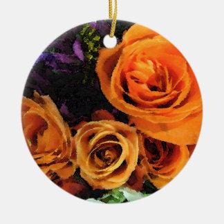 Orange Rosen-Verzierung Rundes Keramik Ornament