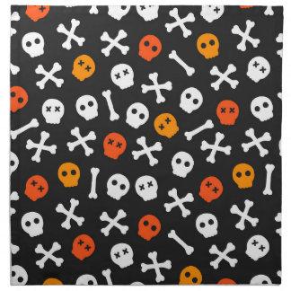Orange Rot-und Weiß-Cartoon-Schädel Stoffserviette
