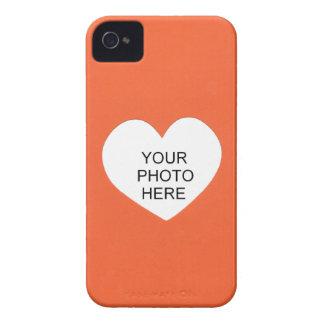 Orange Single-Herz addieren Foto-Rahmen iPhone 4 Hüllen