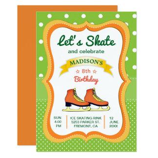Orange Skate-Eis-Skaten-Geburtstags-Party 12,7 X 17,8 Cm Einladungskarte