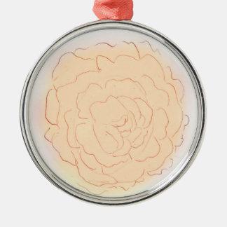 Orange Sorbett-Kohl-Rose Silbernes Ornament