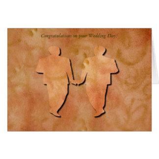 Orange Strudel-homosexuelle Hochzeits-Karte Grußkarte