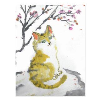Orange Tabby-Katzen-nahe hohe Postkarte