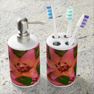 Orange Tigerlilien-Blumendruckbadezimmer-Set Badset