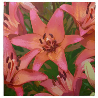 Orange Tigerlilien-Blumendruckservietten Serviette